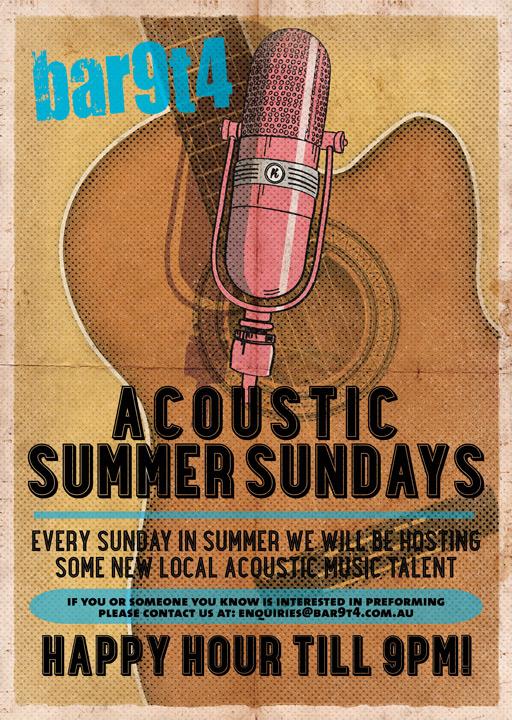 Bar_9T4_Richmond_Function_Venue_Summer_Sundays_Acoustic_Poster